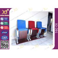 Three Seats Customized Strengthen Aluminum Auditorium Chairs With Square Plywood Manufactures