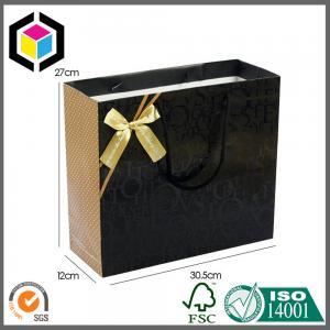 Cotton Handle Matte Black Color Shoes Paper Carrier Bag; Luxury Gift Paper Bag Manufactures
