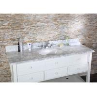 White Carrara Custom Bathroom Vanity Tops Sleek Modern Design Stain Resistant Manufactures