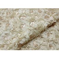 Romantic Champagne Rosette Sequin Lace Fabric , Nylon Bridal Mesh Fabric Manufactures