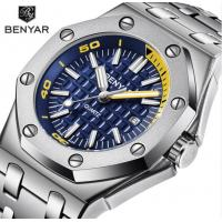 China Hot selling square Mens Chronograph steel bracelet Quartz benyar Watches BY-5123M on sale