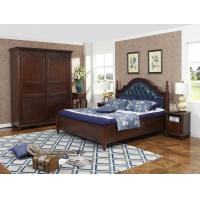 Quality Rubber Wood made bedroom furniture Cheap malaysia imported Solid wood bed high quality PU leather Headboard Upholstured for sale