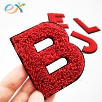China Sew - On 100% Towel Custom Chenille Patches Embroidery Chenille Letter For Clothing on sale