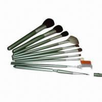 China 10-pcs Makeup Brush Set with Wooden Handle and AL Ferrule, OEM/ODM Orders are Welcome on sale
