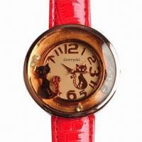 Jewelry Watch, Cats and Moving Rhinestone Decoration, PVC Strap Manufactures