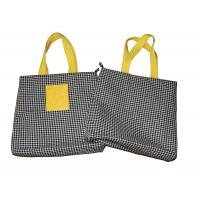6oz Dogtooth Black Canvas Fabric Carrier Bags Reusable With Zipper Closure Manufactures