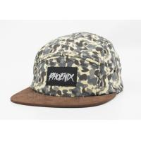 Man Camo Printed Baseball Caps Adjustable With Brown Brim , Patch Logo Manufactures