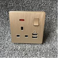 UK Power Independent Dual USB Wall Switch Socket For Apartment / Home Manufactures