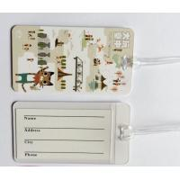 Custom Full Color Print White Plastic Luggage Tags Travel Name Tag With Transparent String, Cheap Factory Price Manufactures