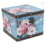 Square Shaped Floral Vintage Wooden Leather Multipurpose Keepsake Storage Cabinet Box Organizer Trumpet Chest Manufactures