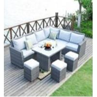 L Shape Sectional Rattan Outdoor Furniture Sofa Dining Sets With Ottoman Manufactures