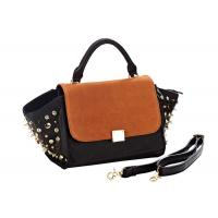 China Trapeze Tote Ladies Suede Leather Handbags , Crystal Rivets on Sides on sale