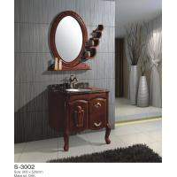 24 Inch 48 Inch Solid Wood Bathroom Vanity One Door Two Drawer Circle Mirror Ceramic Basin Manufactures
