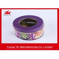 Color Printed Round Gift Tins 0.23mm Tinplate Transparent PVC Window Lids On Top Manufactures