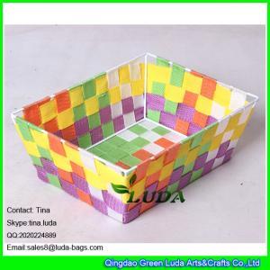 China LDKZ-006 colorful woven strap tote rectangular storage basket bins,handmade storage container on sale