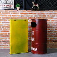 China Household Trash can Iron Art Oil Drum Trash Can Big Bar Bar Cafe Coffee Trash Bin on sale