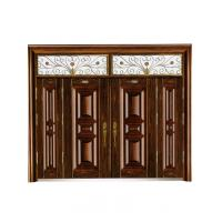 Villa steel metal security door antitheft wood grain safe gate W1500*H560-850mm Manufactures