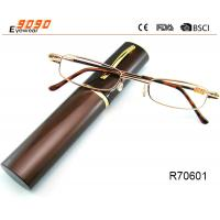 China Unisex Super Light Metal frame Reading Glasses With Aluminum alloy tube Box on sale