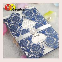 Elegant handmade various colors laser cutting lace wedidng invitation card design with ribbon and buckle Manufactures