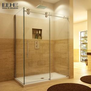 China Gold Frameless Corner Shower Enclosure , Luxury Etched Glass Shower Doors on sale