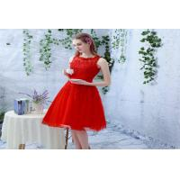 Red Lace Sleeveless Evening Party Dresses Halter neck flower in Custom Fit Manufactures