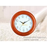 China Custom Round Shape Wall Mounted Rubber Wood Wall Clock, Personalized Pattern and Logo, Small Order Quantity on sale