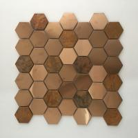 China Hot sale Bronze Cooper Brass Metallic Stainless Steel Hexagon Mosaic Tile For Wall and Backsplash on sale