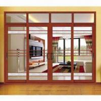 Aluminum-wood Composite Sliding Door with Hollow Glass, Energy-saving and Powder-coated Treatment Manufactures