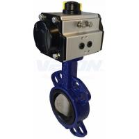 Pneumatic Cylinder Operated Butterfly Valve, Metal Seated Butterfly Valve  Air Flow Control Manufactures