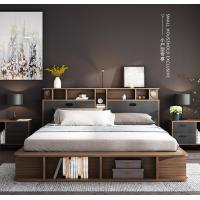 China Apartment Flat Wood Platform Bed , Bedroom Furniture With Storage Cabinet on sale
