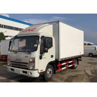 JAC 4x2 Refrigerated Box Truck 5 Tons Fiberglass Inner / Outer Wall For Frozen Food Manufactures