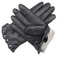 100% Handmade Deer Leather Gloves , Womens Black Leather Driving Gloves Manufactures