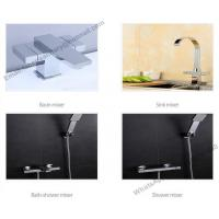 Buy cheap sanitary ware deck mounted square body basin mixer faucet use in bathroom,brass square double handle wash basin faucet from wholesalers