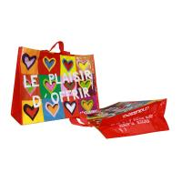 Coloful PP Woven Shopping Bags Heart Pattern 120gsm Shining Coated Cylinder Printing Manufactures