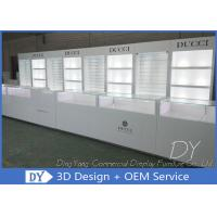 China Glossy White Jewelry Display Showcases Fully With Led Lights Locks Enclosed Large Stor on sale