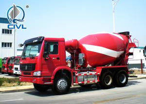 China Red Color 6x4 Sinotruk Concrete Mixer Tank Truck 6 - 8M3 Euro2 336hp LHD on sale