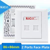 China Kico Hot Sale cat6 cat5 cat7 RJ11 RJ45 2 Port Type 86*86 Networking Faceplate Outlet Socket Keystone Jack Plate Panel Factory for sale