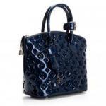 Lady's Dark Blue Smooth Lambskin Patent Leather Trimming LV Monogram Vernis Lockit M40600 Manufactures