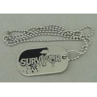 Zinc Alloy Survivor Personalised Dog Tags Soft Enamel Long Ball Chain And Nickel Plating Manufactures