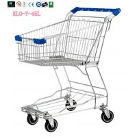 Quality Small Wire Mesh Shopping Trolley Carts For Grocery Store , Blue Handle With Logo 60KGS for sale