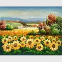 China Custom Palette Knife Sunflowers Oil Painting, Decorative Hand Painted Art on Canvas on sale