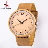 Round Dial Wood Minimalist Leather Watch Quartz Water Proof For Dress Manufactures