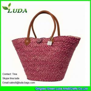 LUDA discounted designer handbags red wine women straw beach handbags Manufactures