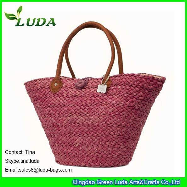 Quality LUDA discounted designer handbags red wine women straw beach handbags for sale