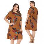 2019 summer temperament round collar irregular short sleeve dress Manufactures