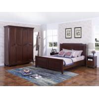 Rubber Wood Furniture Thailand solid wood King/Queen Bed in Leisure American style with Nightstand and Wardrobe Manufactures