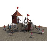 PE Board Kids Climbing Net With Stainless Steel Tunnel Slide And HDPE Panels Manufactures