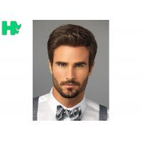 Bright Silky Straight Men Hair Wig With Normal Lace Cap Construction Manufactures