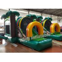 China Green Printed PVC Small Inflatable Bouncer Castle Kids Playground Flame Resistant on sale