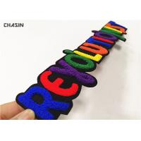 Buy cheap Greek Letter Chenille Embroidery Patches Felt Background Sewn Backing from wholesalers